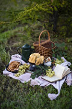 Photo Kettle Grapes Pound Cake Ficus carica Picnic Wicker basket Book Food