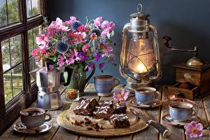 Photo Little cakes Anemones Bouquets Kerosene lamp Coffee Coffee mill Still-life Tray Vase Cup Window Food Flowers