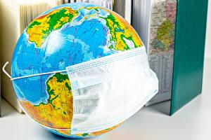 デスクトップの壁紙、、仮面、Coronavirus、地球儀、