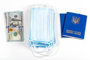 デスクトップの壁紙、、仮面、冠狀病毒病、貨幣、ドル、ウクライナ、白背景、