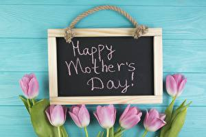 Picture Mother's Day Tulips English Lettering