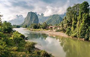Bilder Gebirge Flusse Bäume Wolke Laos, Nong Khiaw Natur