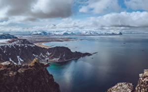 Image Mountain Sea Norway Snow island Andoya, fylke Nordland Nature