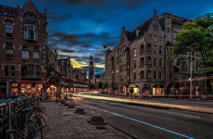 Photo Netherlands Amsterdam Evening Building Roads Street