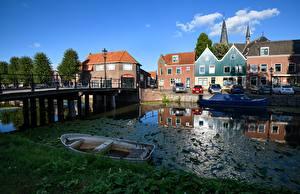 Bilder Niederlande Gebäude Boot Brücken Kanal Monnickendam