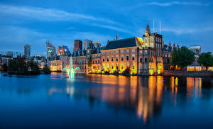 Wallpaper Netherlands Building Fountains Evening The Hague Cities