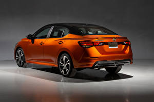 Wallpapers Nissan Orange Metallic Back view Sentra SR, North America, 2020 Cars