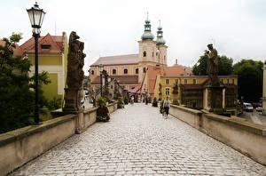 Wallpaper Poland Sculptures Church Street lights Klodzko, Lower Silesian Voivodeship, Klodzko County
