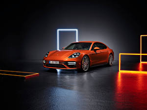 Wallpaper Porsche Orange Metallic Panamera Turbo S (971), 2020 automobile