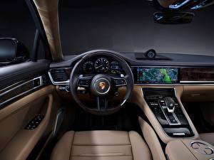 Fonds d'écran Porsche Salons Volant directionnel Panamera 4S E-Hybrid Executive, (971), 2020 voiture