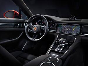 Fonds d'écran Porsche Salons Volant directionnel Panamera Turbo S (971), 2020 automobile
