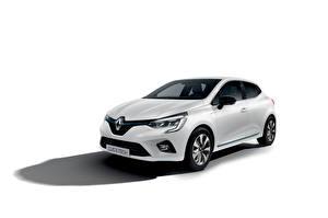 Bilder Renault Weiß Metallisch Weißer hintergrund Clio E-TECH, 2020 automobil