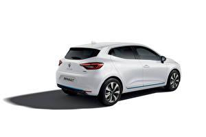 Fotos Renault Weiß Metallisch Weißer hintergrund Clio E-TECH, 2020 auto