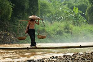 Wallpapers Rivers Stone Men Asiatic Bridges Bamboo Hat Wicker basket Equilibrium Balance Working Nature