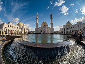 Wallpaper Russia Temple Pond Waterfalls Mosque Bulgar White mosque Kazan, Tatarstan Cities