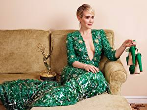 Picture Sofa Blonde girl Sitting Frock Décolletage Glance Hands Stilettos Sarah Paulson Celebrities Girls