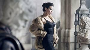 Photo Sculptures Brunette girl Posing Frock Fur coat female