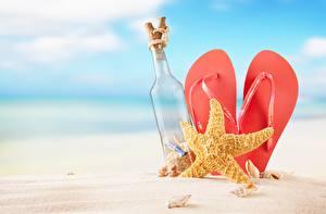Picture Sea stars Flip-flops Sand Bottles
