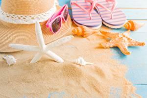Image Starfish Summer Sand Hat Flip-flops Glasses
