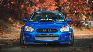 Hintergrundbilder Subaru Blau Vorne Impreza STI auto