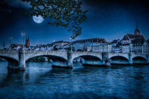 Image Switzerland Building River Bridges Night time Moon Street lights Basel Cities