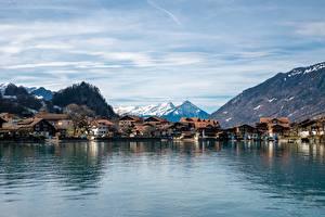 Hintergrundbilder Schweiz See Gebirge Haus Iseltwald, Canton Bern, Lake Brienz Städte