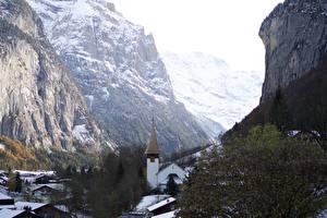 Sfondi desktop Svizzera Inverno La chiesa Il dirupo Lauterbrunnen, Canton Bern, Interlaken County Natura