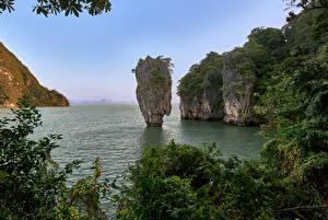 Sfondi desktop Thailandia Parco Baia Il dirupo Khao Phing Kan Natura