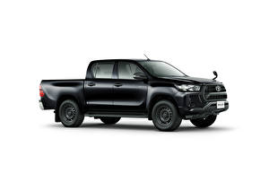 Wallpapers Toyota Black Metallic Pickup Side White background Hilux X Double Cab, JP-spec, 2020