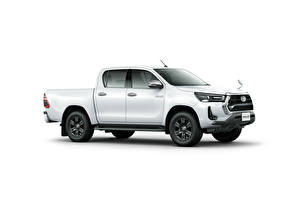 Image Toyota Pickup White Metallic Side White background Hilux Z Double Cab, JP-spec, 2020