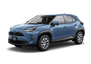 Wallpaper Toyota Blue Metallic Crossover White background Yaris Cross Hybrid X, JP-spec, 2020 Cars