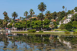 Pictures USA Building Lake Coast California Los Angeles Palms Echo Park Lake