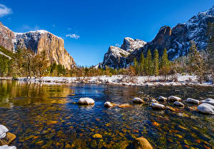 Picture USA Mountain Park River Stone Landscape photography Yosemite Trees California Snow Nature