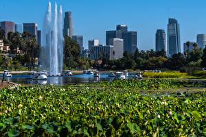 Desktop hintergrundbilder USA Parks Gebäude See Springbrunnen Seerosen Kalifornien Echo Park Lake Natur