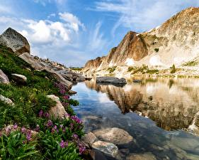 Picture USA Stones Water Crag Wyoming Nature