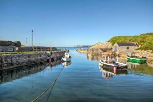 Images United Kingdom Boats Waterfront HDRI Antrim, Northern Ireland