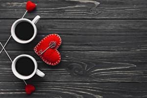 Wallpaper Valentine's Day Coffee Wood planks Heart Template greeting card Key lock