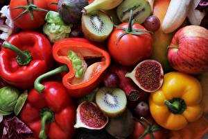 Photo Vegetables Bell pepper Ficus carica Tomatoes
