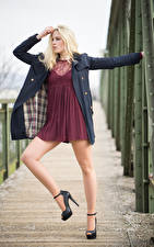 Image Blonde girl Posing Frock Legs Coat Victoria Girls
