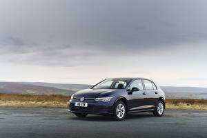 Bureaubladachtergronden Volkswagen Blauw kleur Metallic 2020 Golf Life auto's