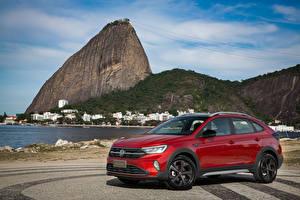 Bakgrundsbilder på skrivbordet Volkswagen Röd Metallisk 2020 Nivus Highline 200 TSI Launching Edition Latam automobil