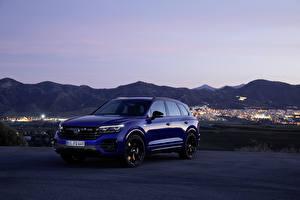 Bakgrunnsbilder Volkswagen Crossover Blå Metallisk 2020 Touareg R Worldwide bil