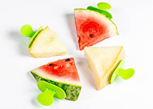 Images Watermelons Melons White background Pieces Food
