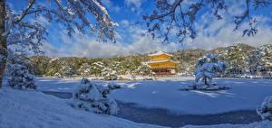 Wallpapers Winter Temples Japan Kyoto Panorama Snow Kinkaku-JI, Rokuon-JI temple Nature