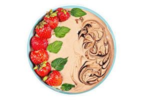 桌面壁纸,,酸奶,草莓,巧克力,白色背景,食品
