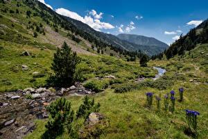Hintergrundbilder Andorra Berg Steine Bach Ordino Natur