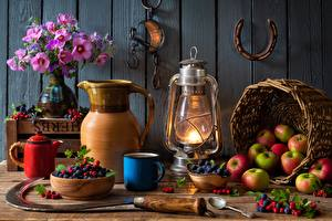 Picture Apples Berry Bouquet Kerosene lamp Still-life Kettle Wicker basket Bowl Vase Mug Spoon Pitcher  Food Flowers