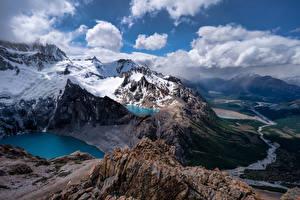 Fotos Argentinien Gebirge Schnee Wolke Felsen Von oben Fitz Roy, Patagonia Natur