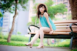 Bilder Asiatisches Bank (Möbel) Braune Haare Der Hut Sitzend Bein Stöckelschuh Mädchens