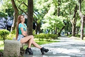 Wallpapers Asian Bench Brown haired Sitting Legs Boots young woman